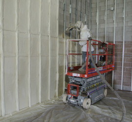 spray foam insulation in a commercial building