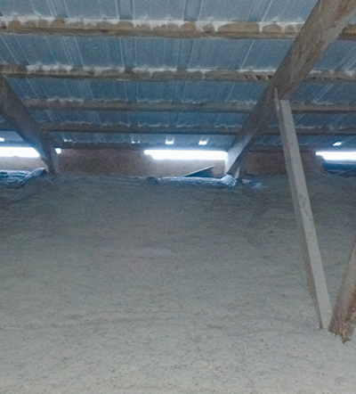 In many barns, air chutes have blown out and are laying on top of the insulation.