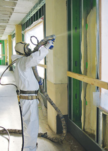 Spray foam insulation in a commerciall building